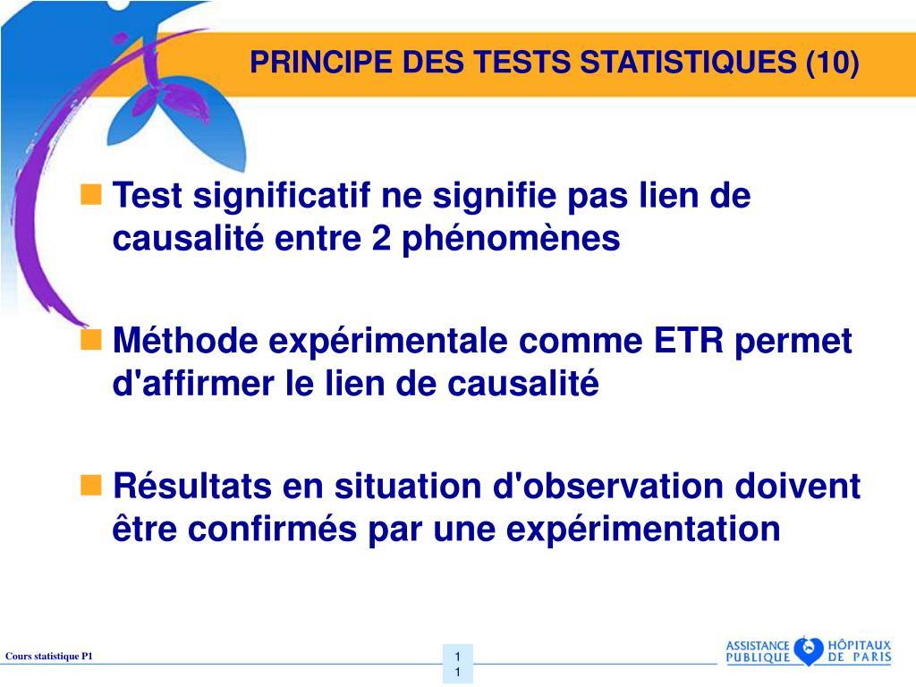 PRINCIPE DES TESTS STATISTIQUES (10)
