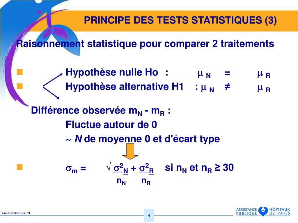 PRINCIPE DES TESTS STATISTIQUES (3)