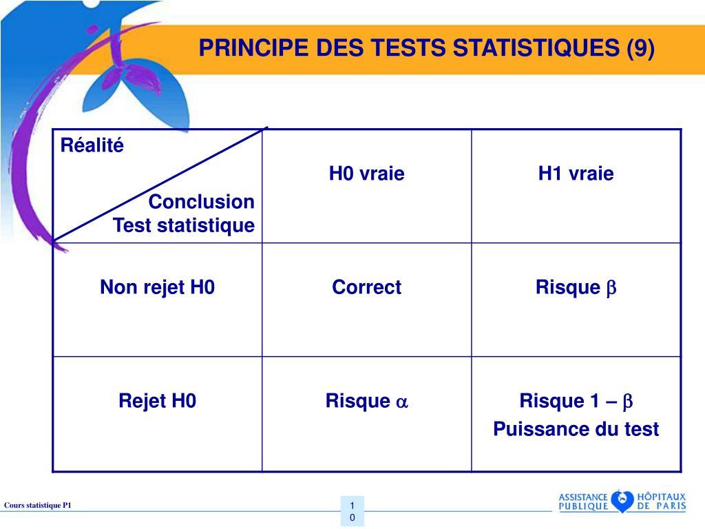 PRINCIPE DES TESTS STATISTIQUES (9)