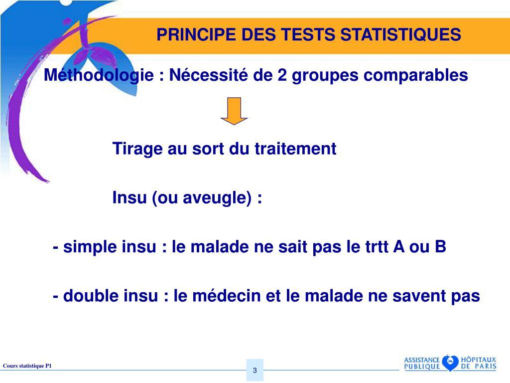 PRINCIPE DES TESTS STATISTIQUES