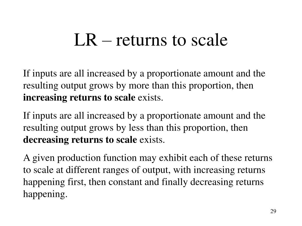 LR – returns to scale