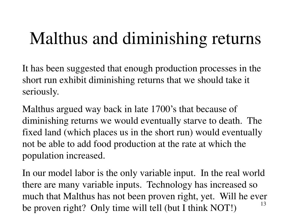Malthus and diminishing returns