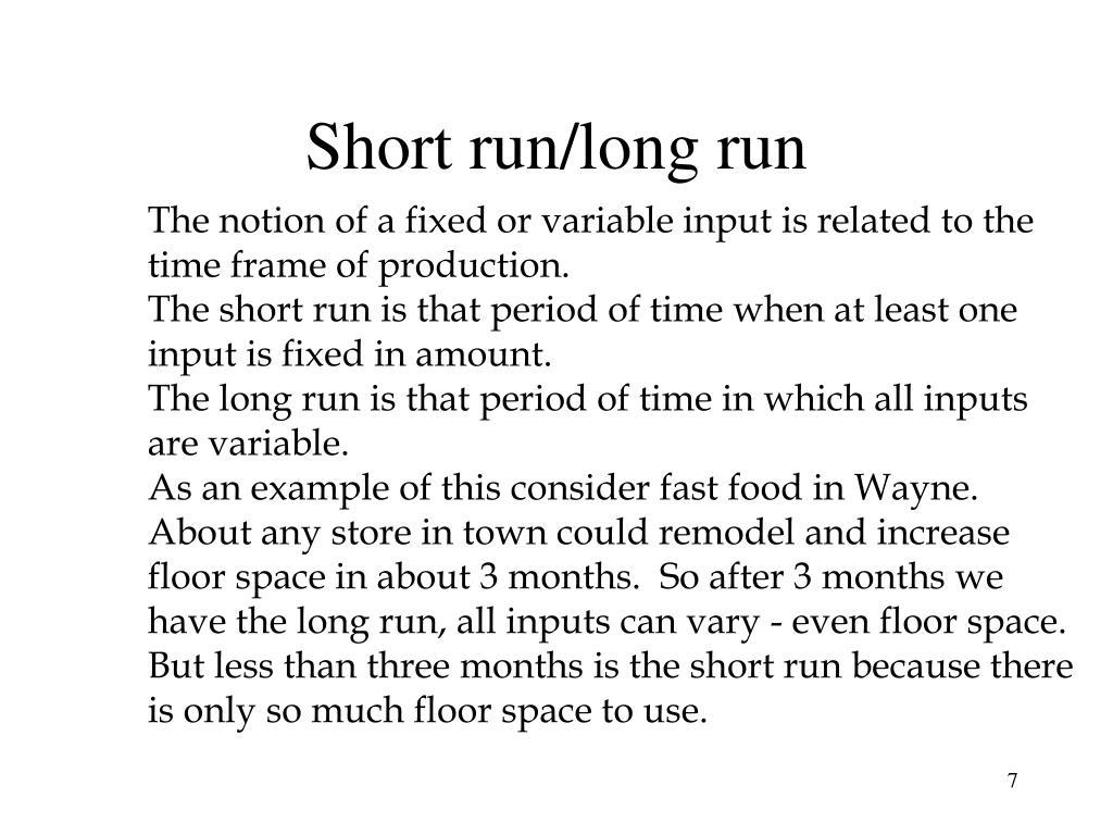 Short run/long run