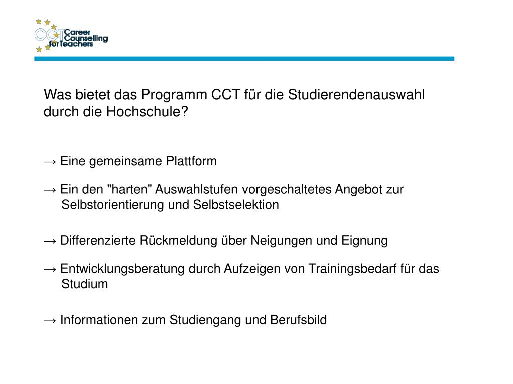 Was bietet das Programm CCT für die Studierendenauswahl durch die Hochschule?