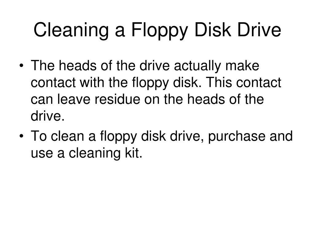 Cleaning a Floppy Disk Drive