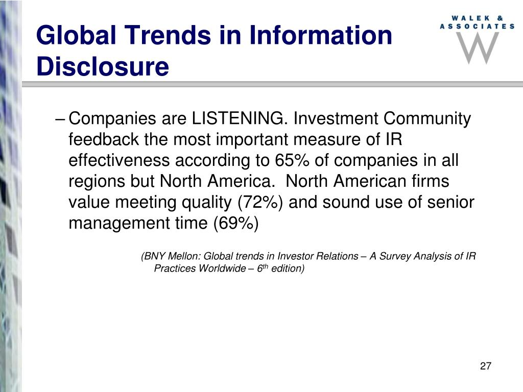 Global Trends in Information Disclosure