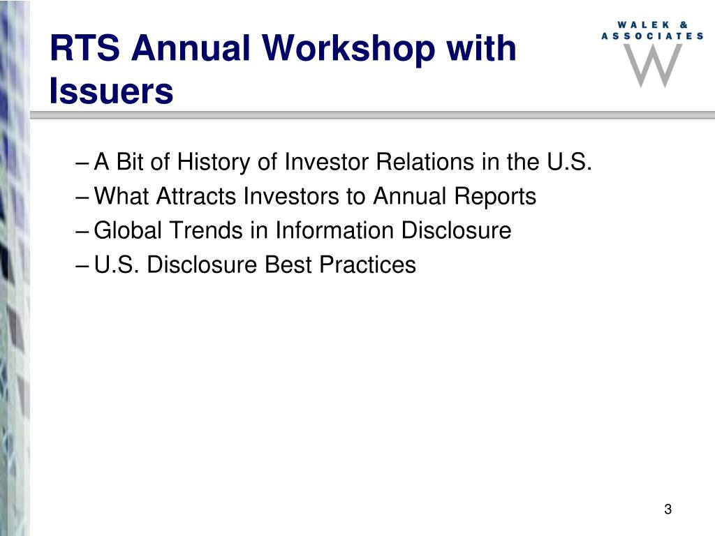 RTS Annual Workshop with Issuers