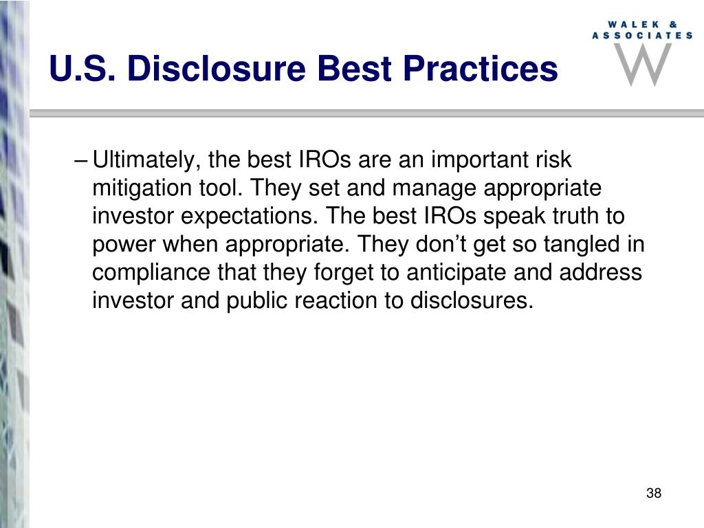 U.S. Disclosure Best Practices
