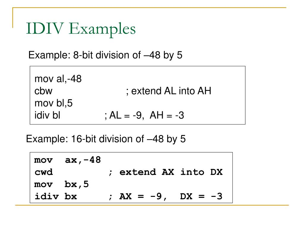 IDIV Examples