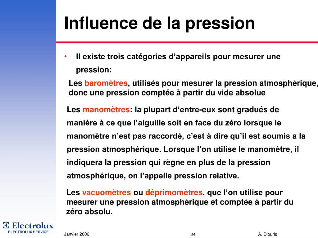 Influence de la pression