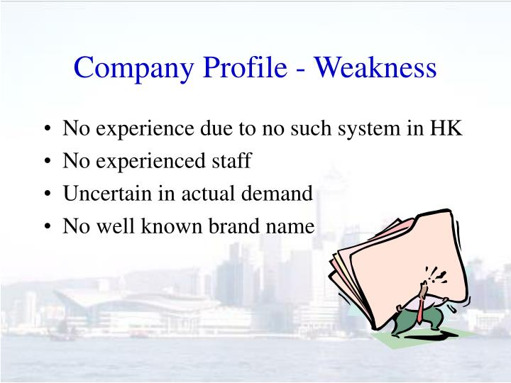 Company Profile - Weakness