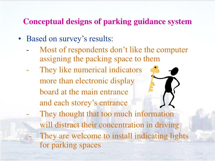 Conceptual designs of parking guidance system