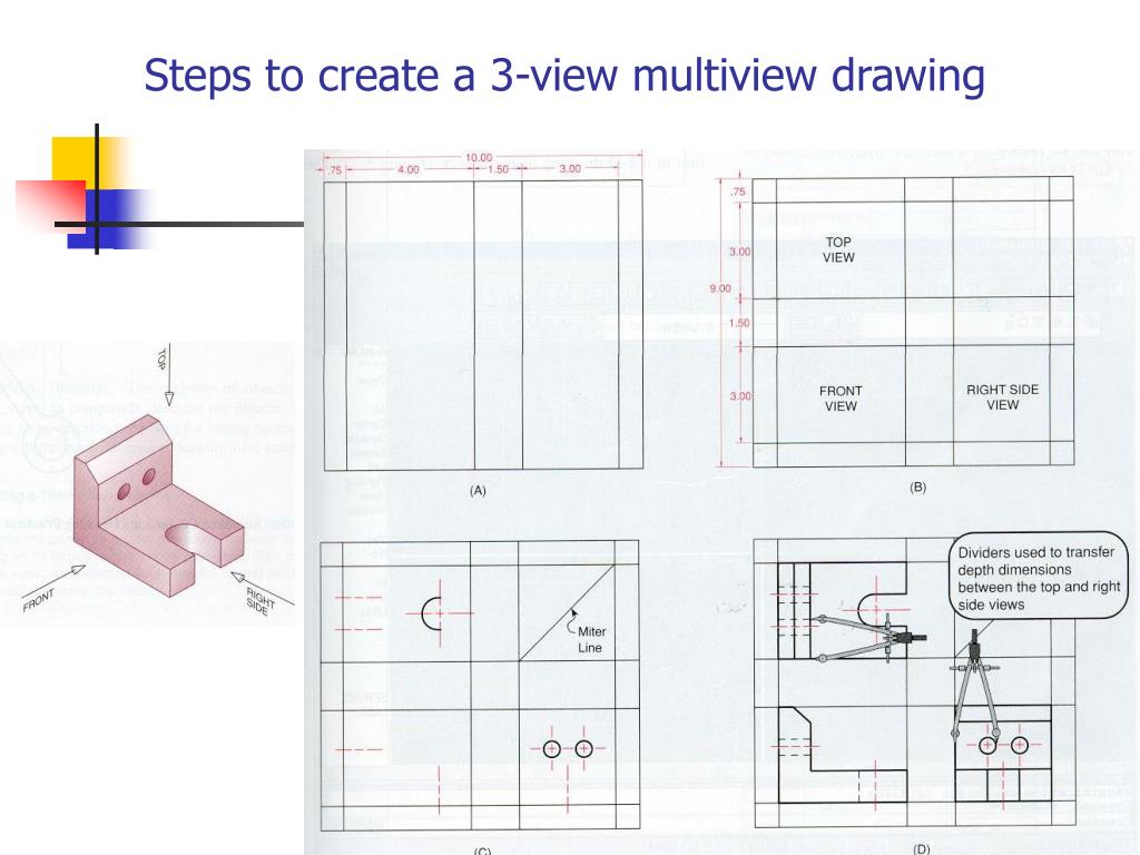 Steps to create a 3-view multiview drawing