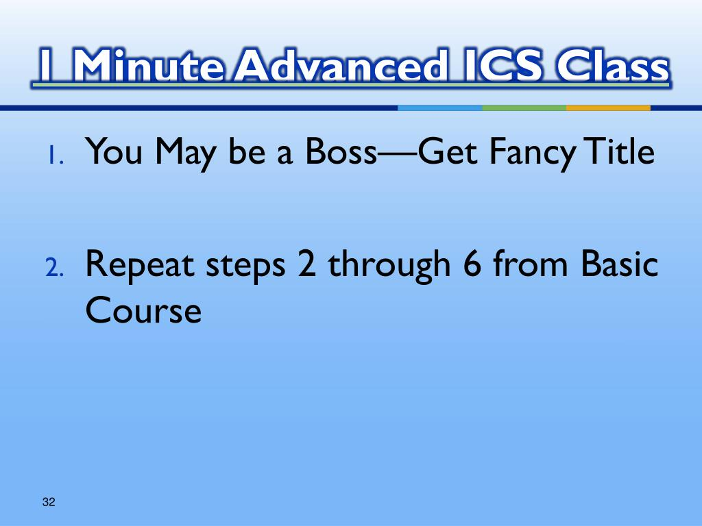 1 Minute Advanced ICS Class