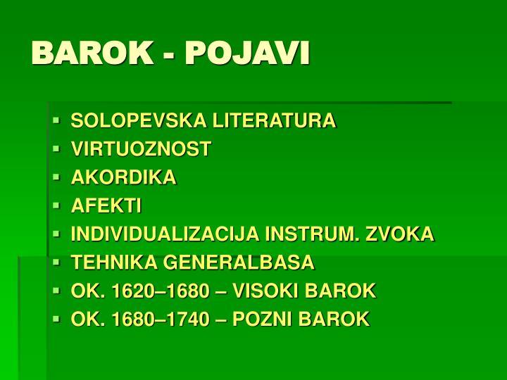 BAROK - POJAVI