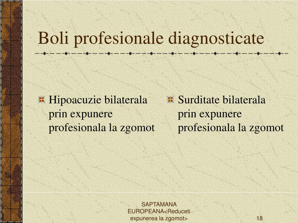 Hipoacuzie bilaterala prin expunere profesionala la zgomot