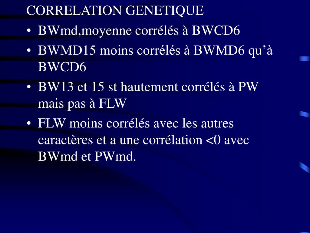 CORRELATION GENETIQUE