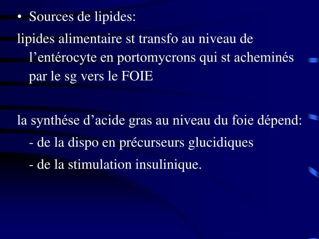 Sources de lipides: