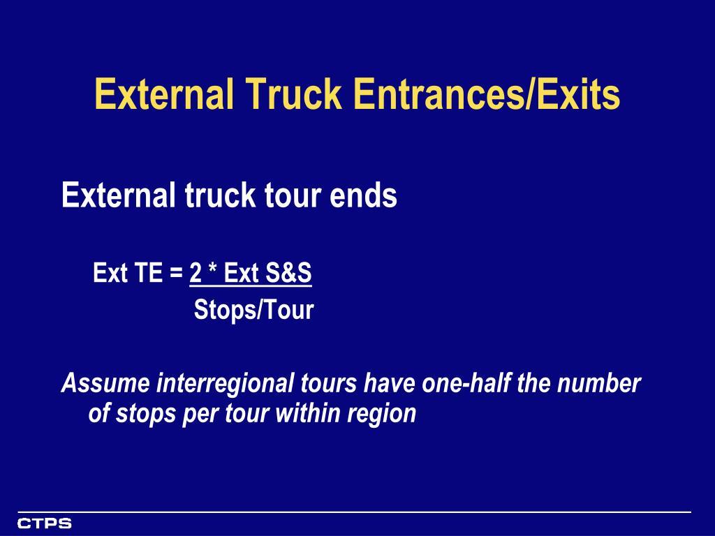 External Truck Entrances/Exits