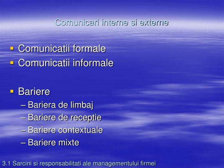Comunicari interne si externe