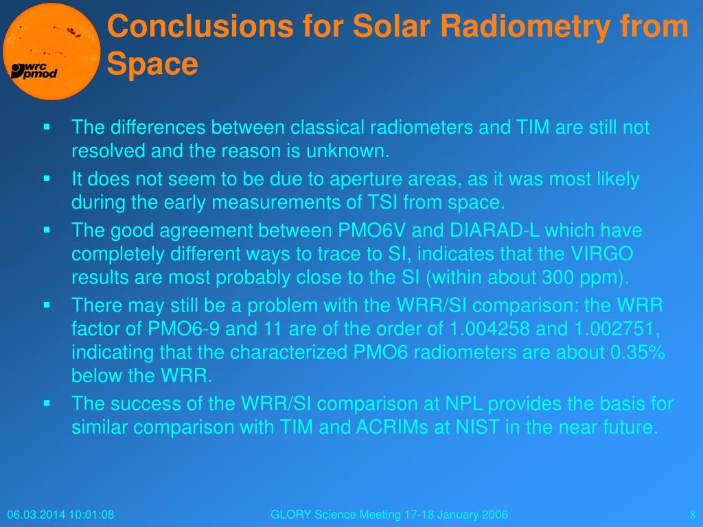 Conclusions for Solar Radiometry from Space
