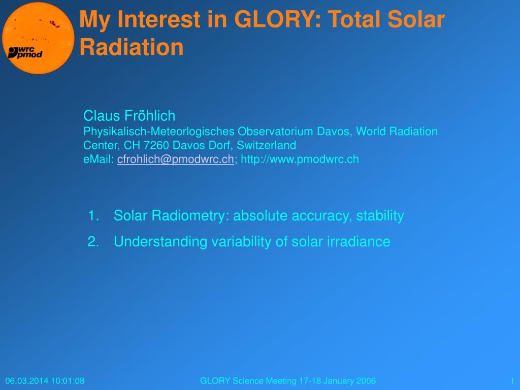 my interest in glory total solar radiation