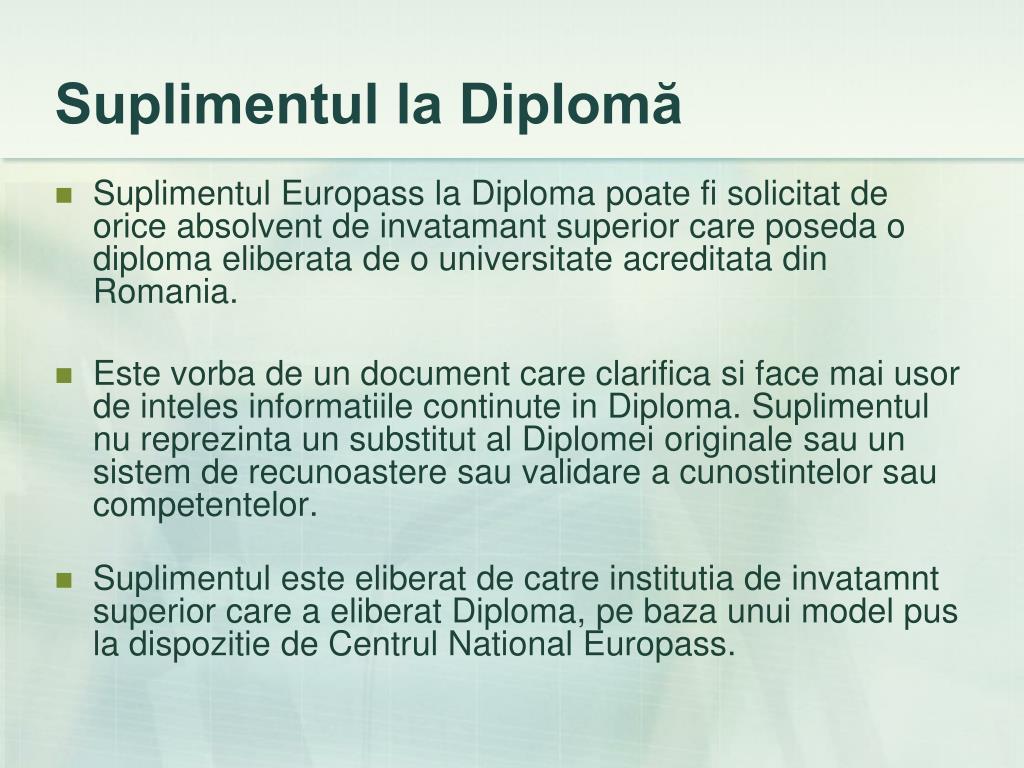 Suplimentul la Diplomă