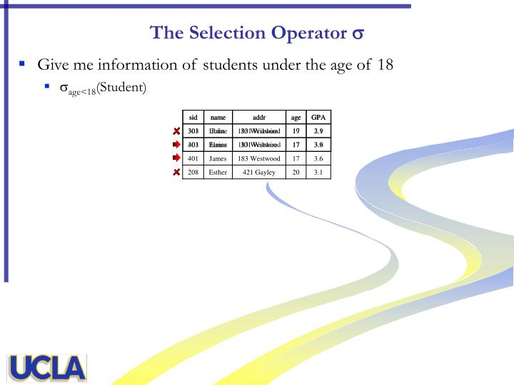 The Selection Operator