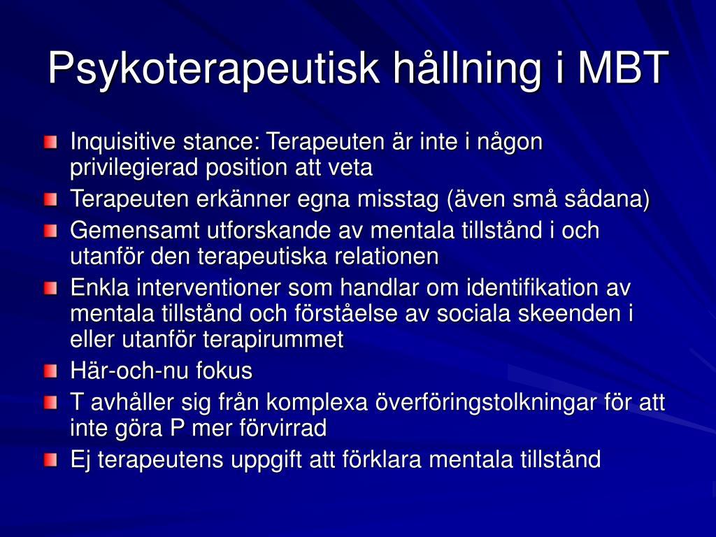 Psykoterapeutisk hållning i MBT