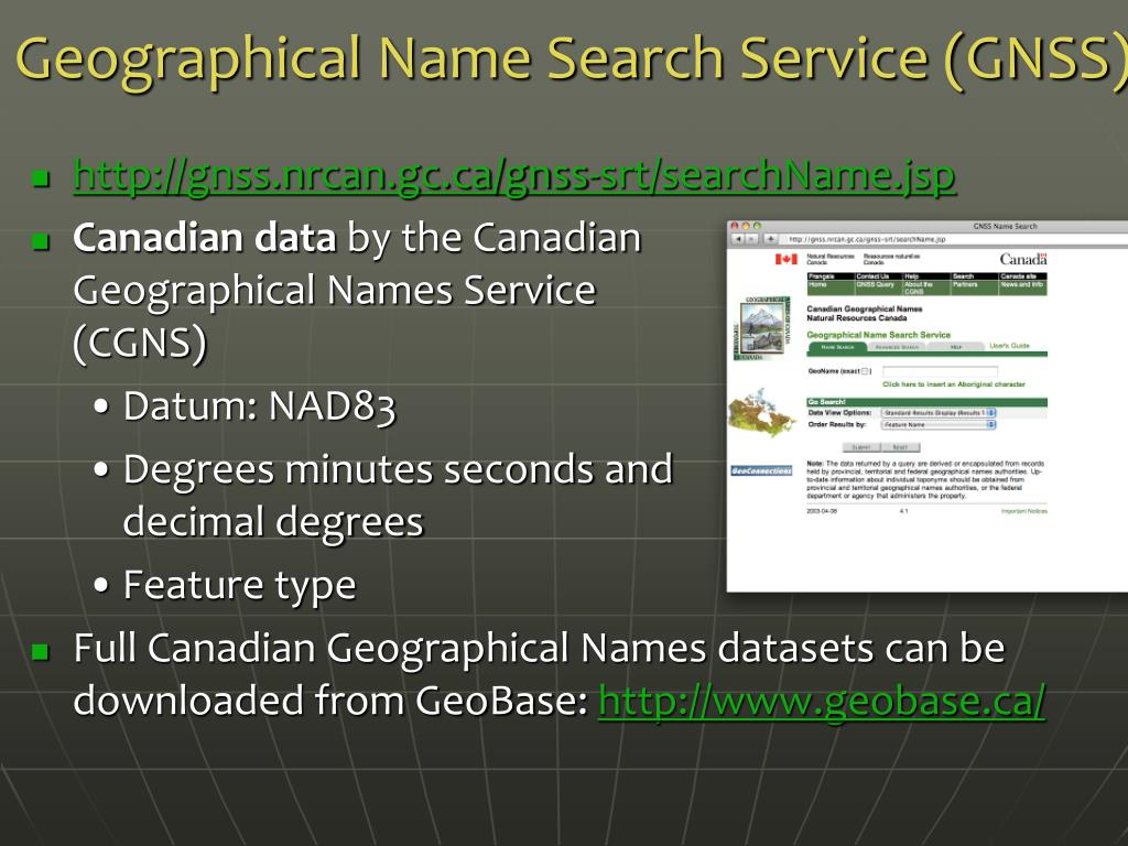 Geographical Name Search Service (GNSS)