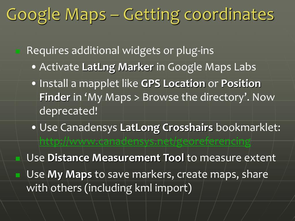 Google Maps – Getting coordinates