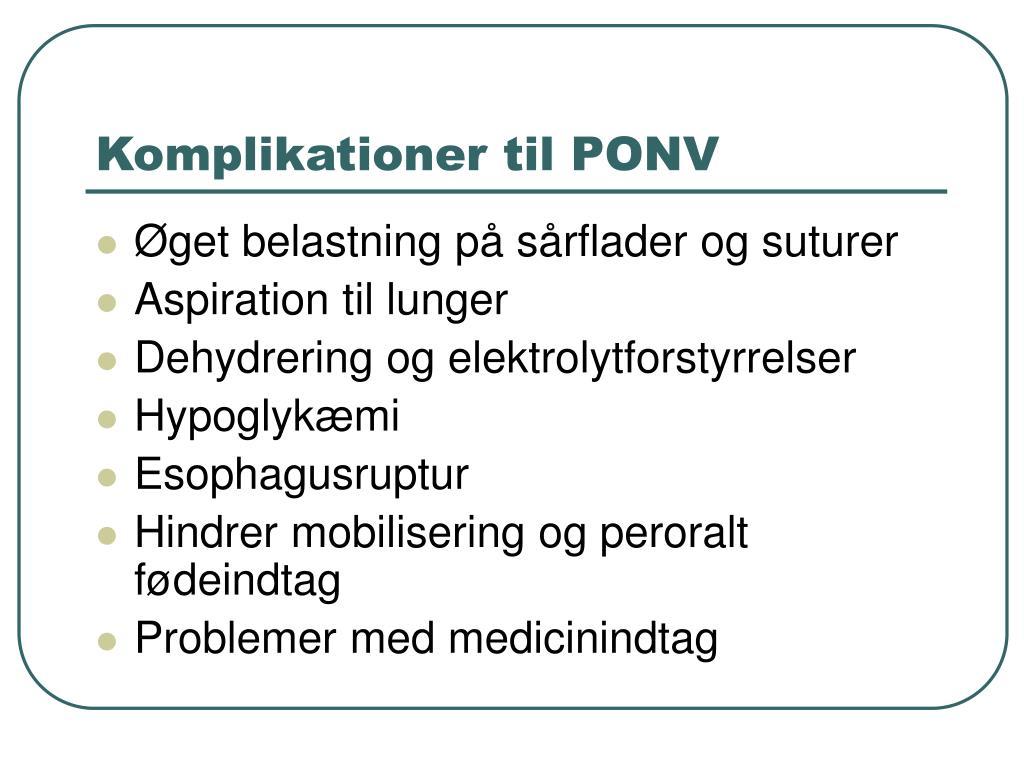 Komplikationer til PONV