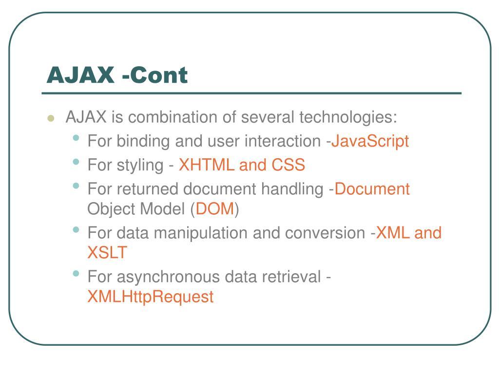 AJAX -Cont