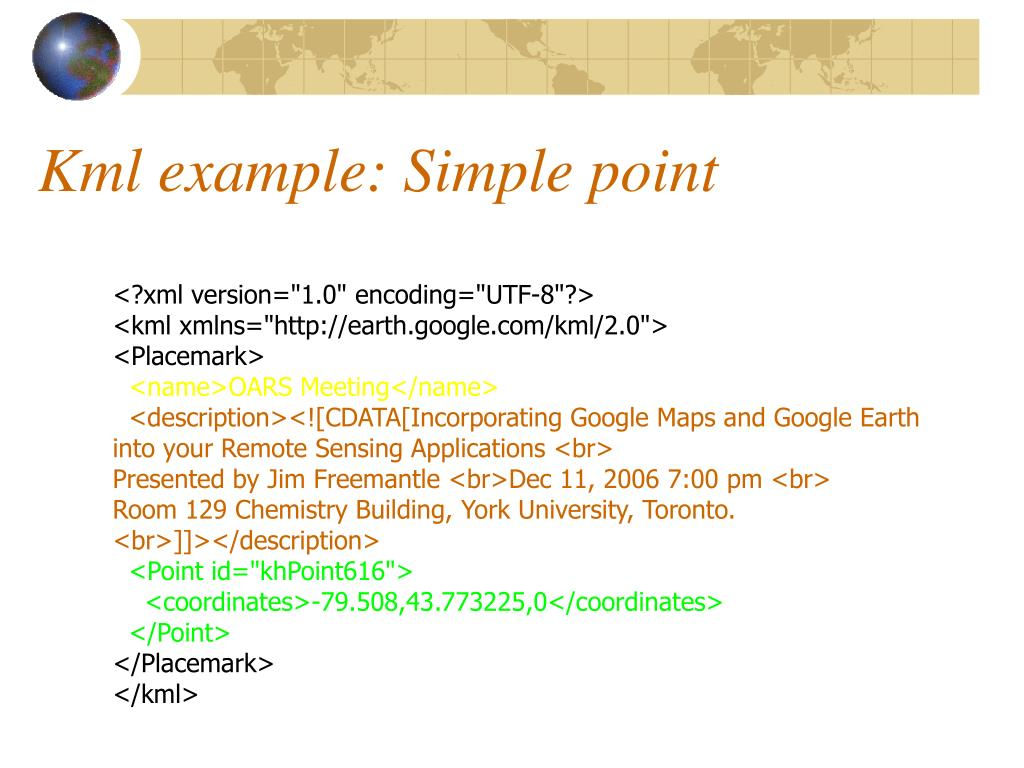 Kml example: Simple point