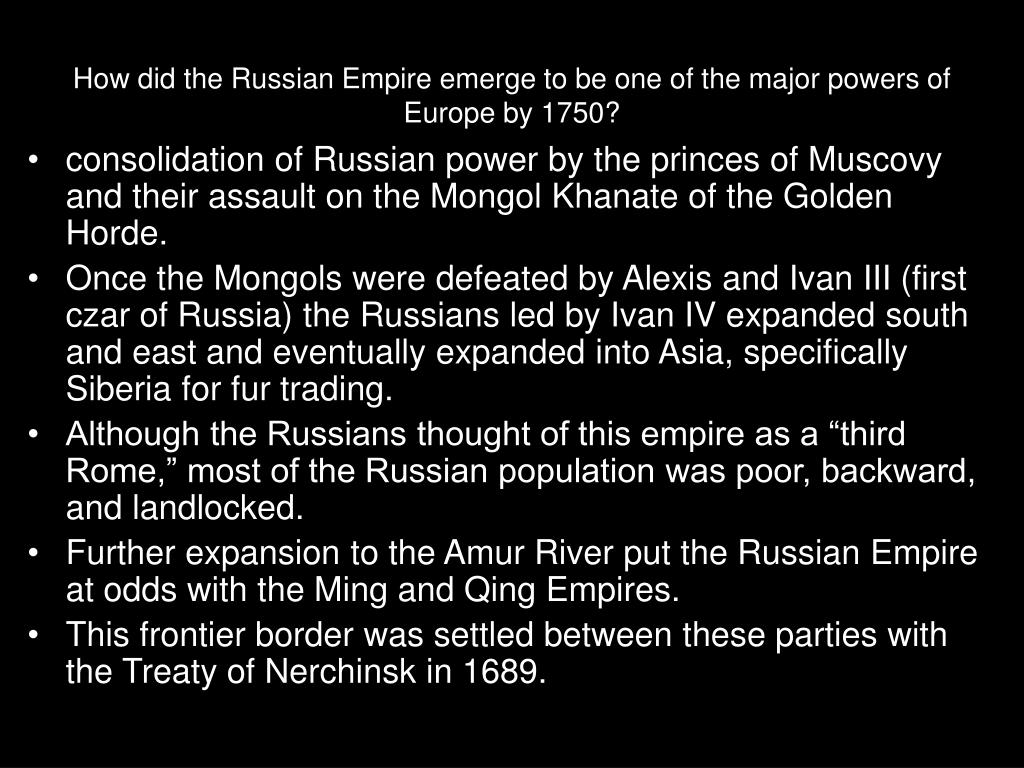 How did the Russian Empire emerge to be one of the major powers of Europe by 1750?