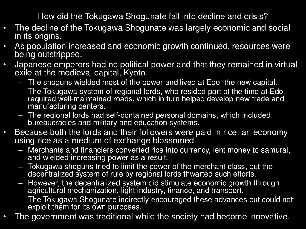 How did the Tokugawa Shogunate fall into decline and crisis?