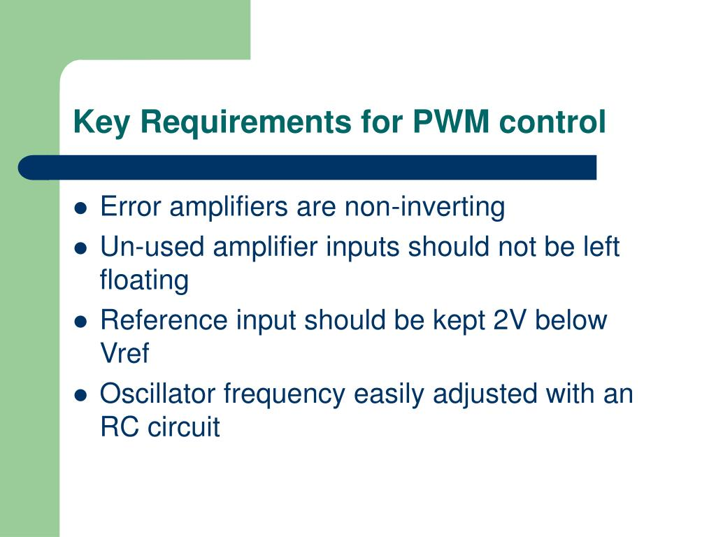 Key Requirements for PWM control