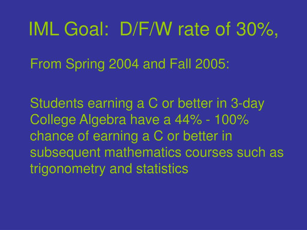 IML Goal:  D/F/W rate of 30%,