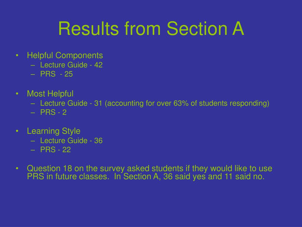 Results from Section A