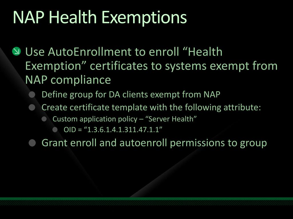 NAP Health Exemptions
