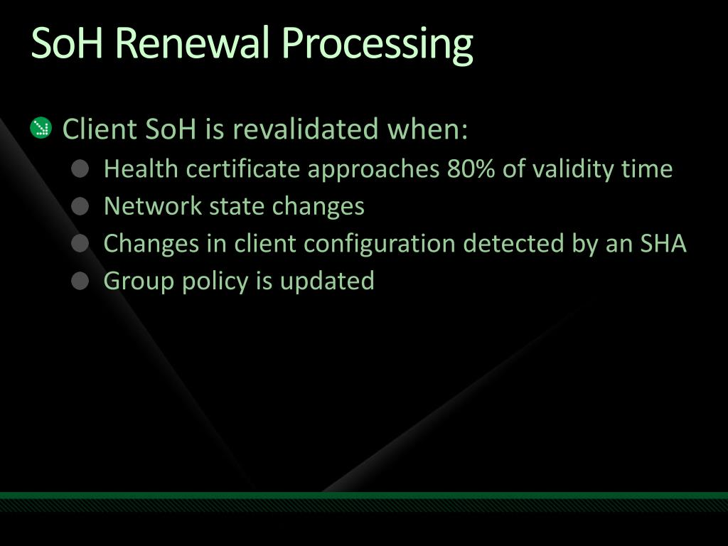 SoH Renewal Processing