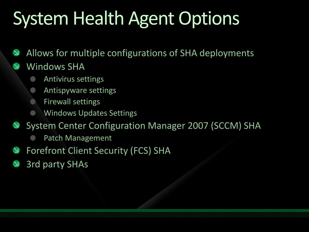 System Health Agent Options