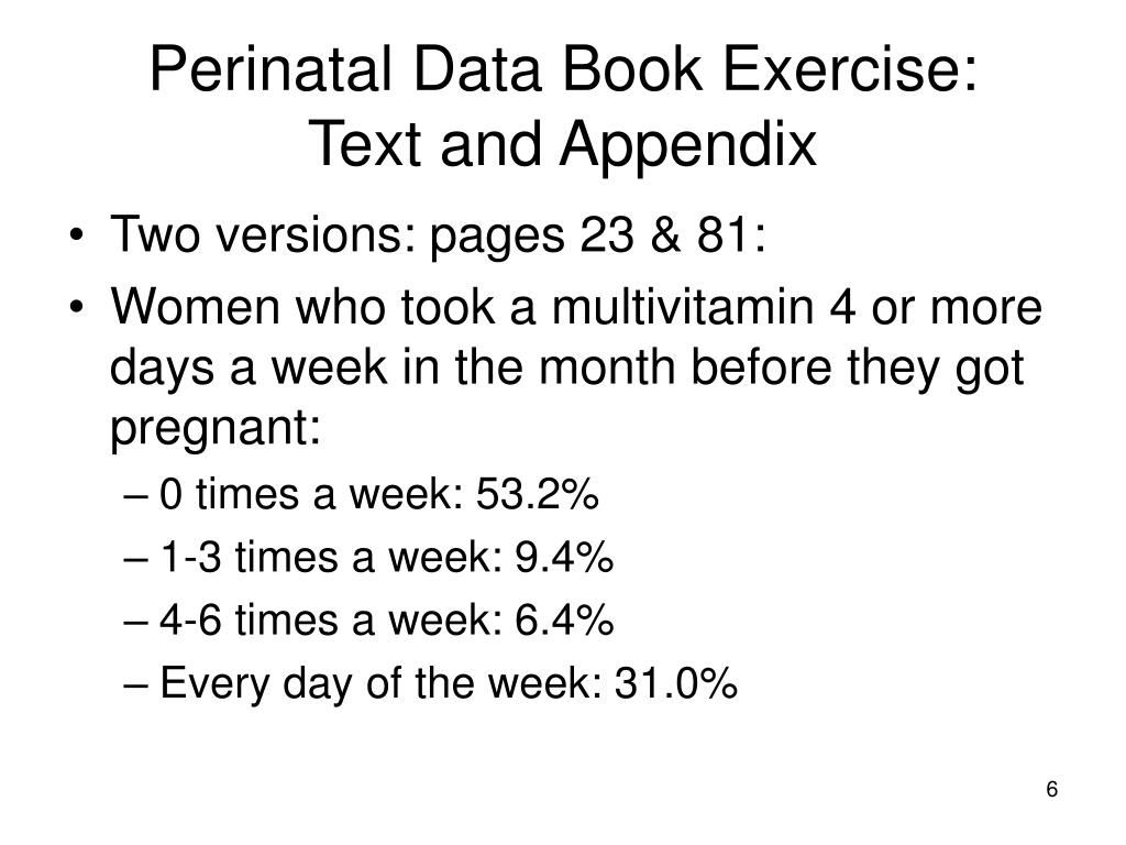 Perinatal Data Book Exercise: