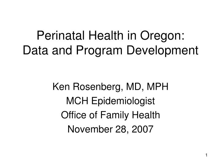 Perinatal health in oregon data and program development