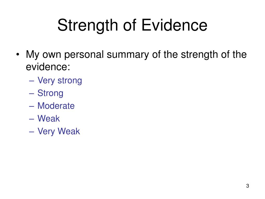 Strength of Evidence