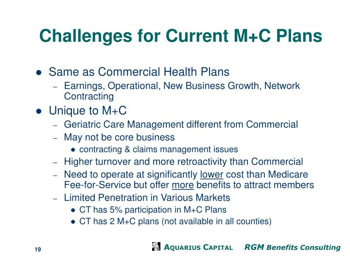 Challenges for Current M+C Plans