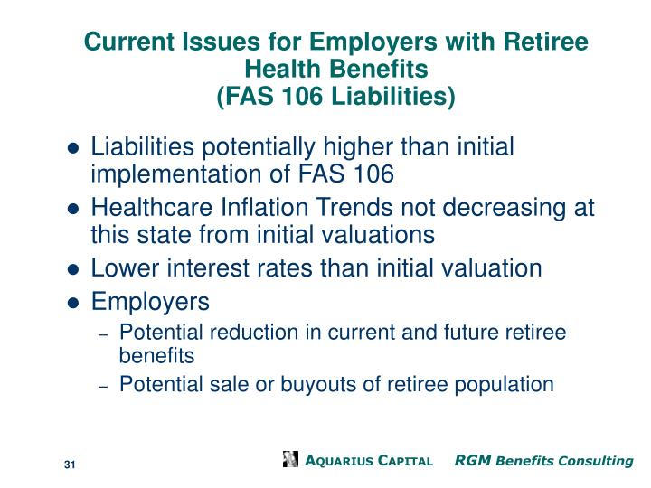 Current Issues for Employers with Retiree Health Benefits