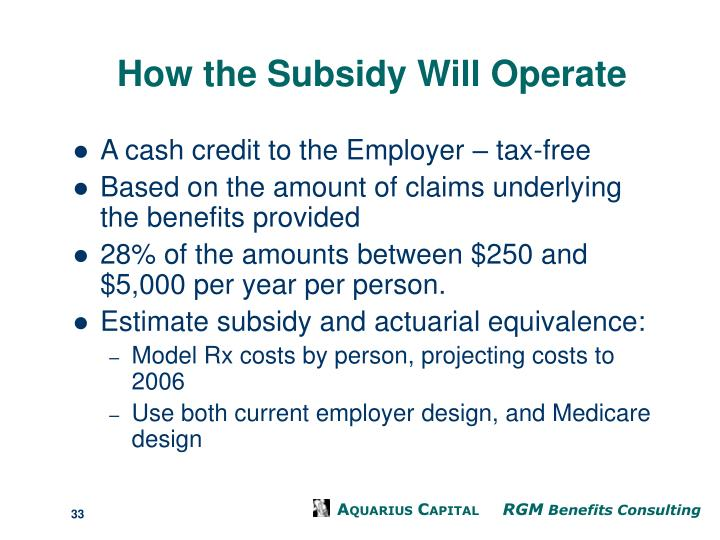 How the Subsidy Will Operate