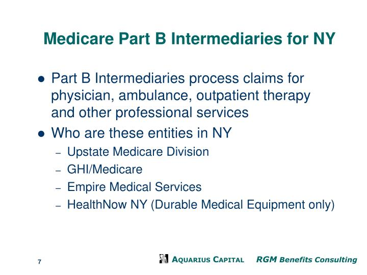 Medicare Part B Intermediaries for NY
