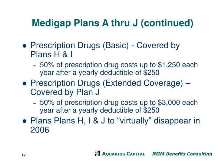 Medigap Plans A thru J (continued)